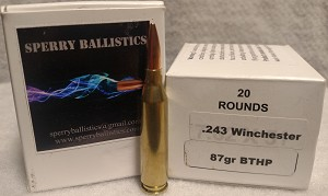 Sperry Ballistics 243 Winchester 87 grain Boat Tail Hollowpoint (20 rounds)